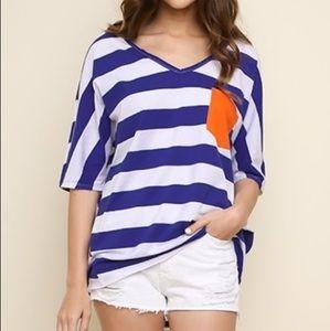 Umgee Striped Color Block V-Neck Top